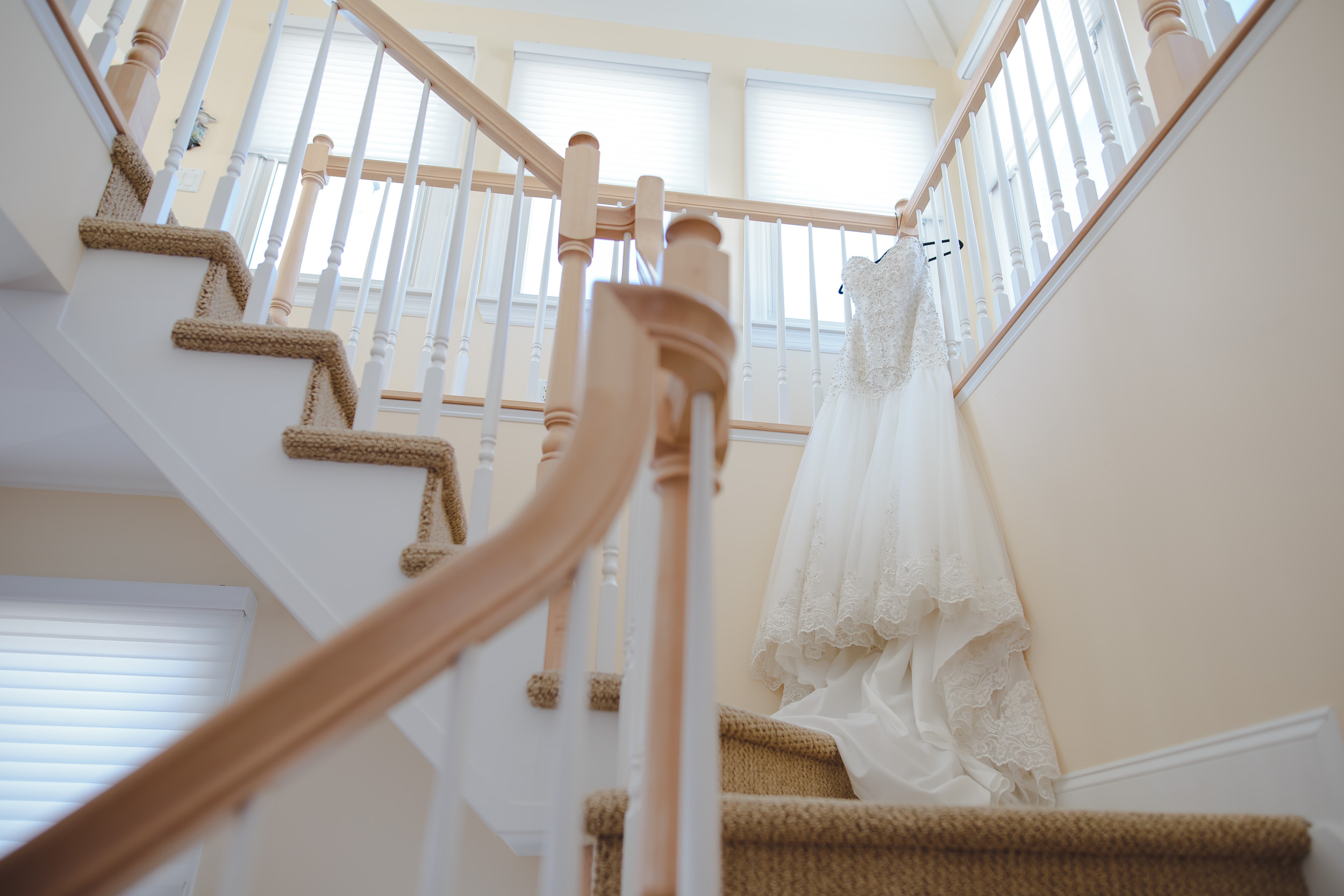 wedding dress stairs detail