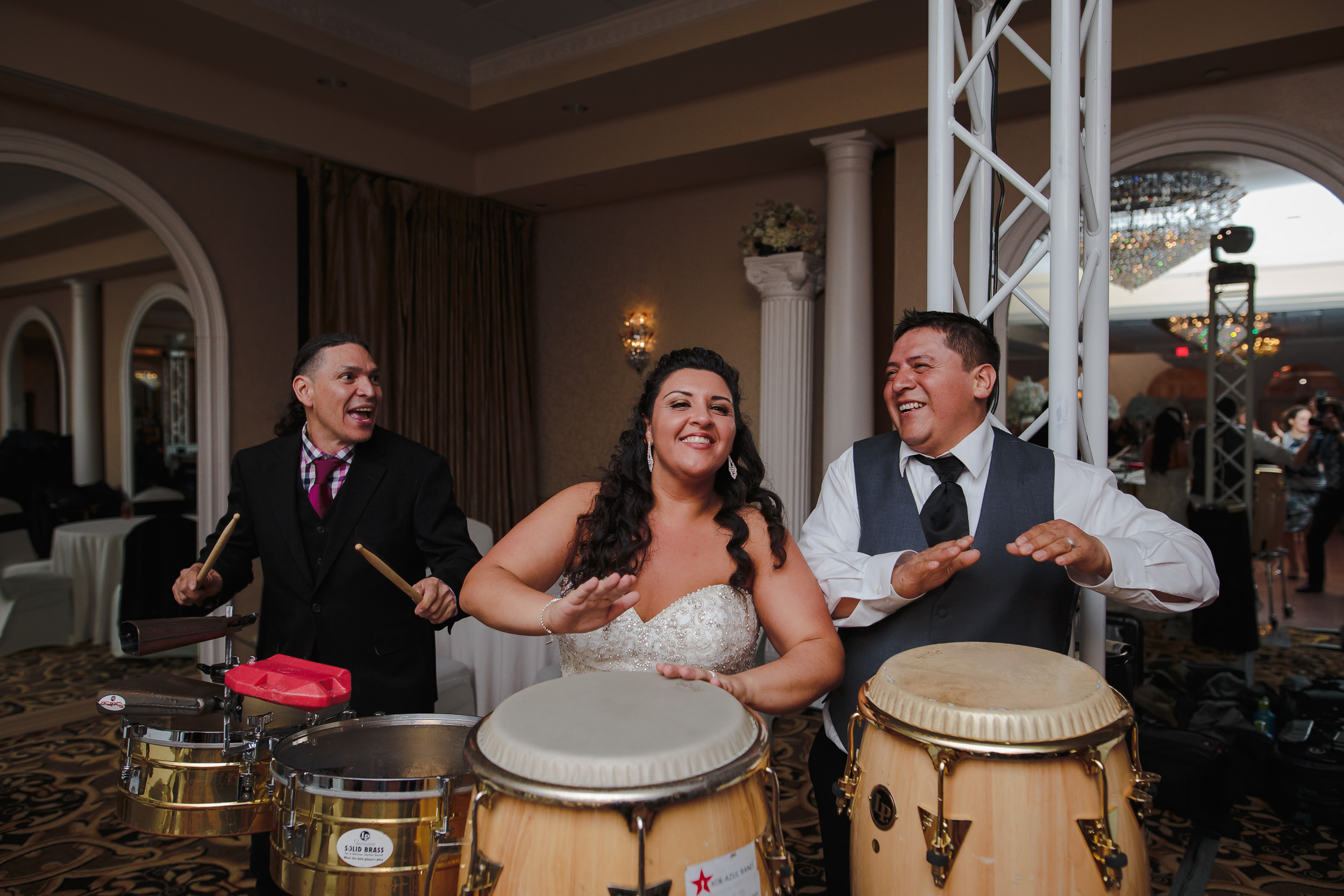 wedding reception bride groom latin percussion congas drum versailles ballroom ramada toms river nj
