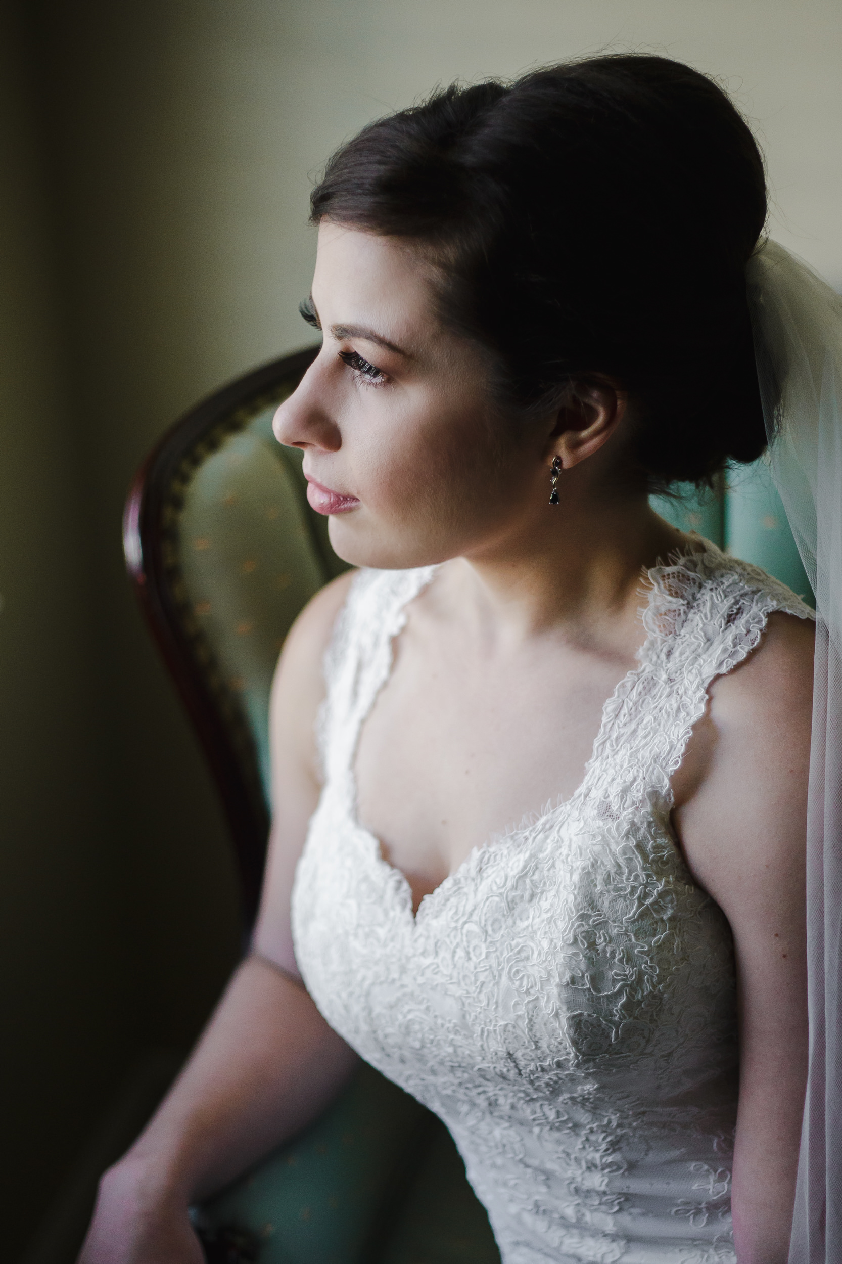 wedding bride portrait beauty shot chair window light