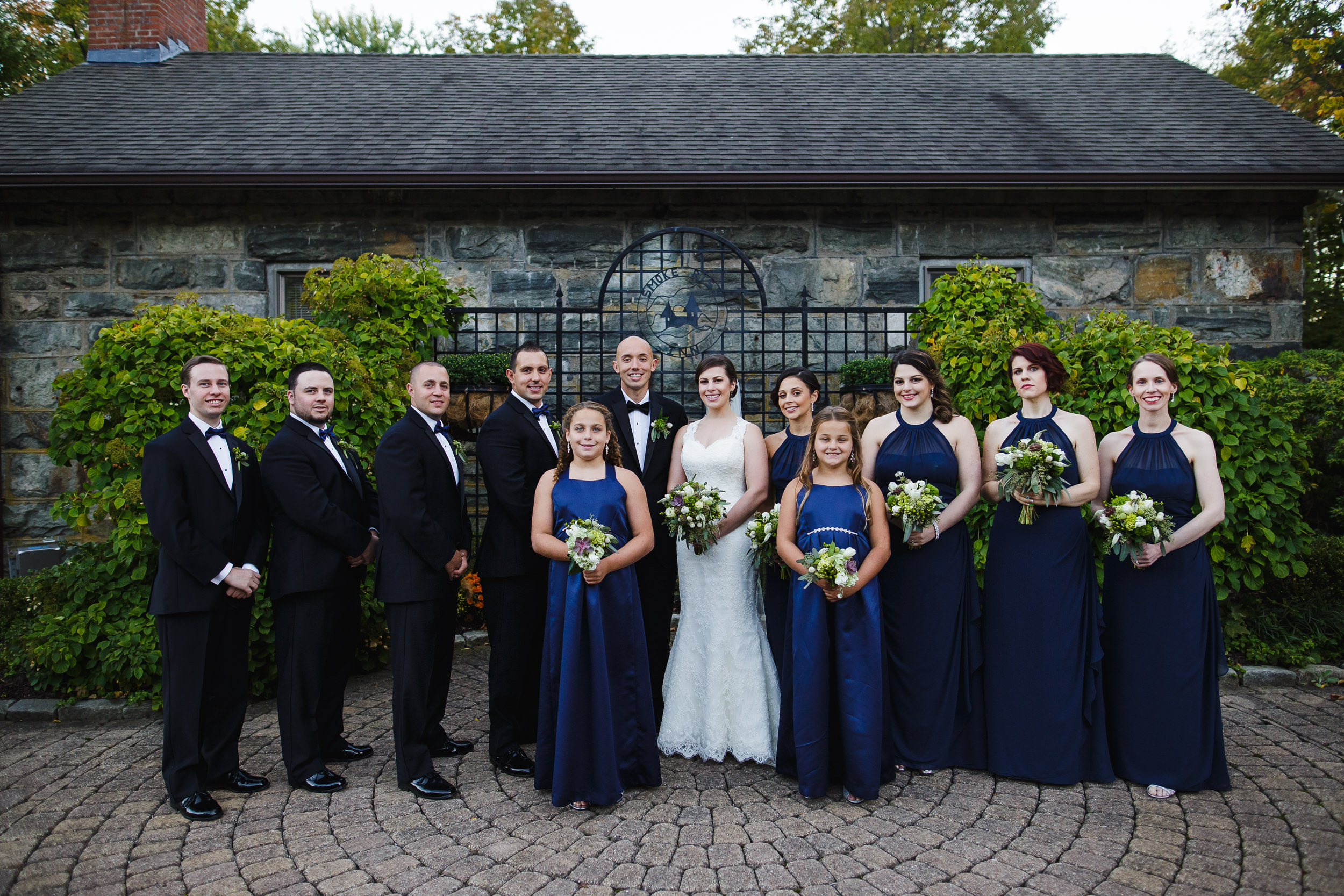 wedding party portrait, smoke rise village inn, kinnelon, nj