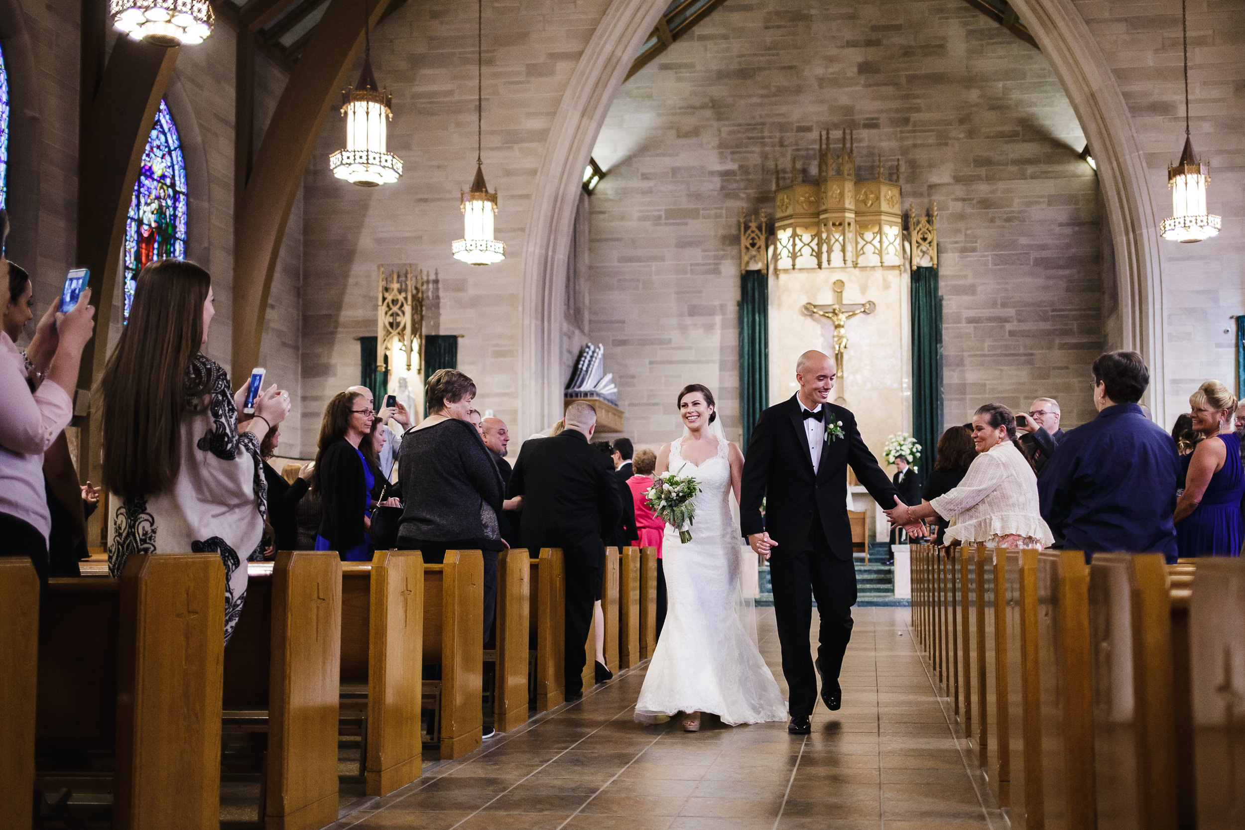 wedding ceremony recessional bride groom exit St. Francis of Assisi Cathedral metuchen nj
