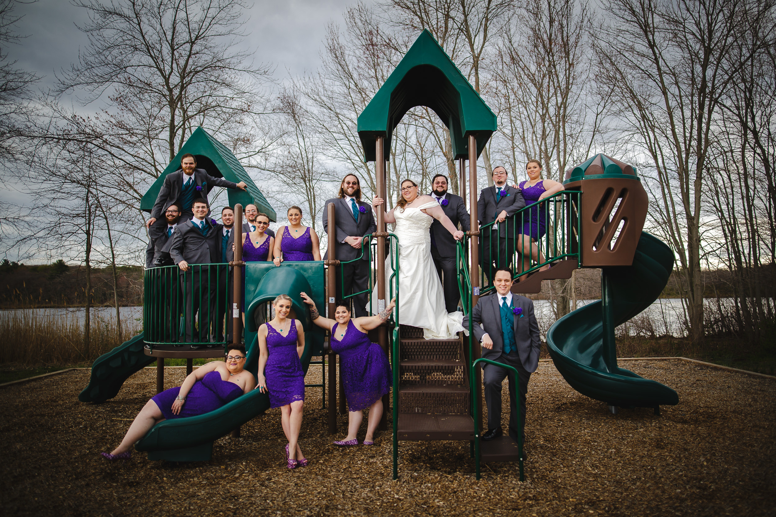 wedding party portrait group shot, jamesburg park, nj