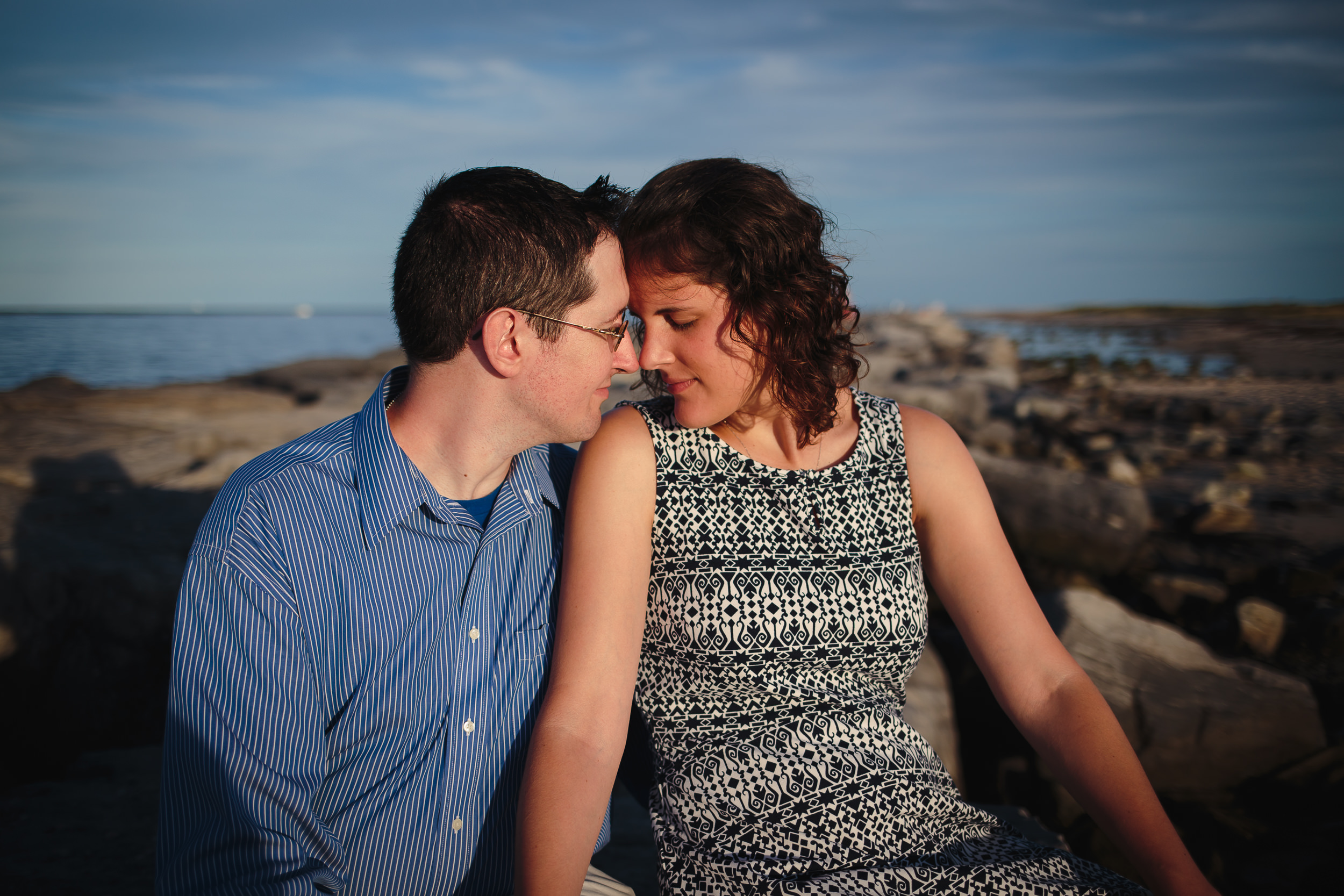 engagement session portrait barnegat lighthouse inlet rocks jetty