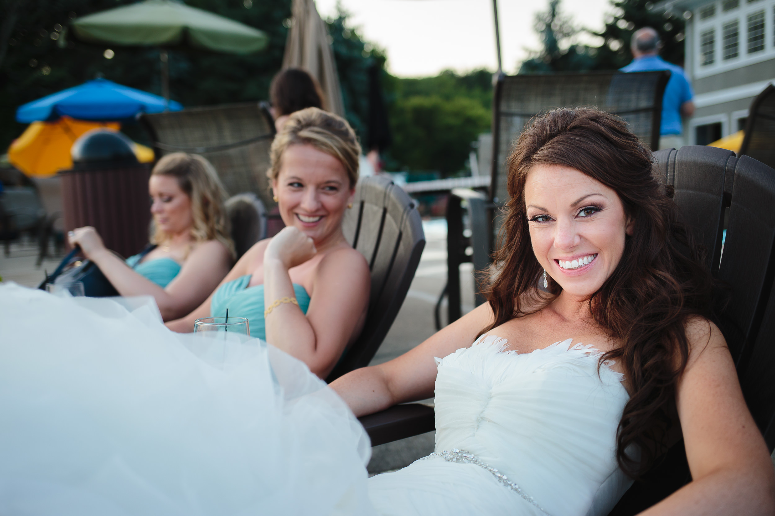 wedding bride cocktail hour relaxing mountain lakes club nj
