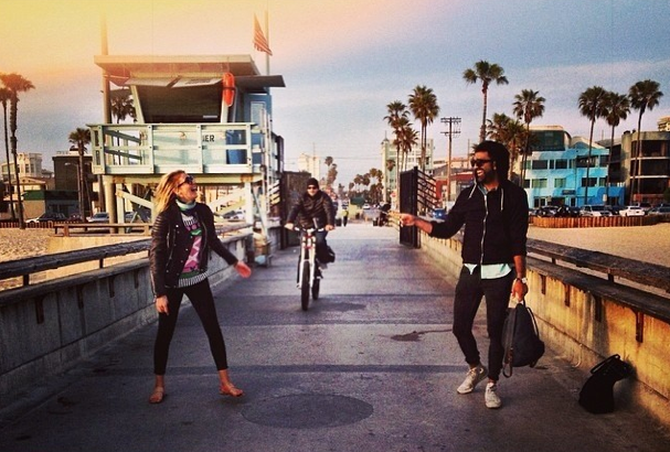 Lead Actress from Indigo and A Beautiful Heart Cecilia Forss with Paul Jerndal in Venice, Los Angeles.