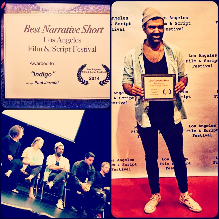 """PAUL JERNDAL IN THE QNA PANEL AND ON RED CARPET RECEIVING """"BEST NARRATIVE SHORT AWARD"""" AT LOS ANGELES FILM & SCRIPT FESTIVAL 2014."""