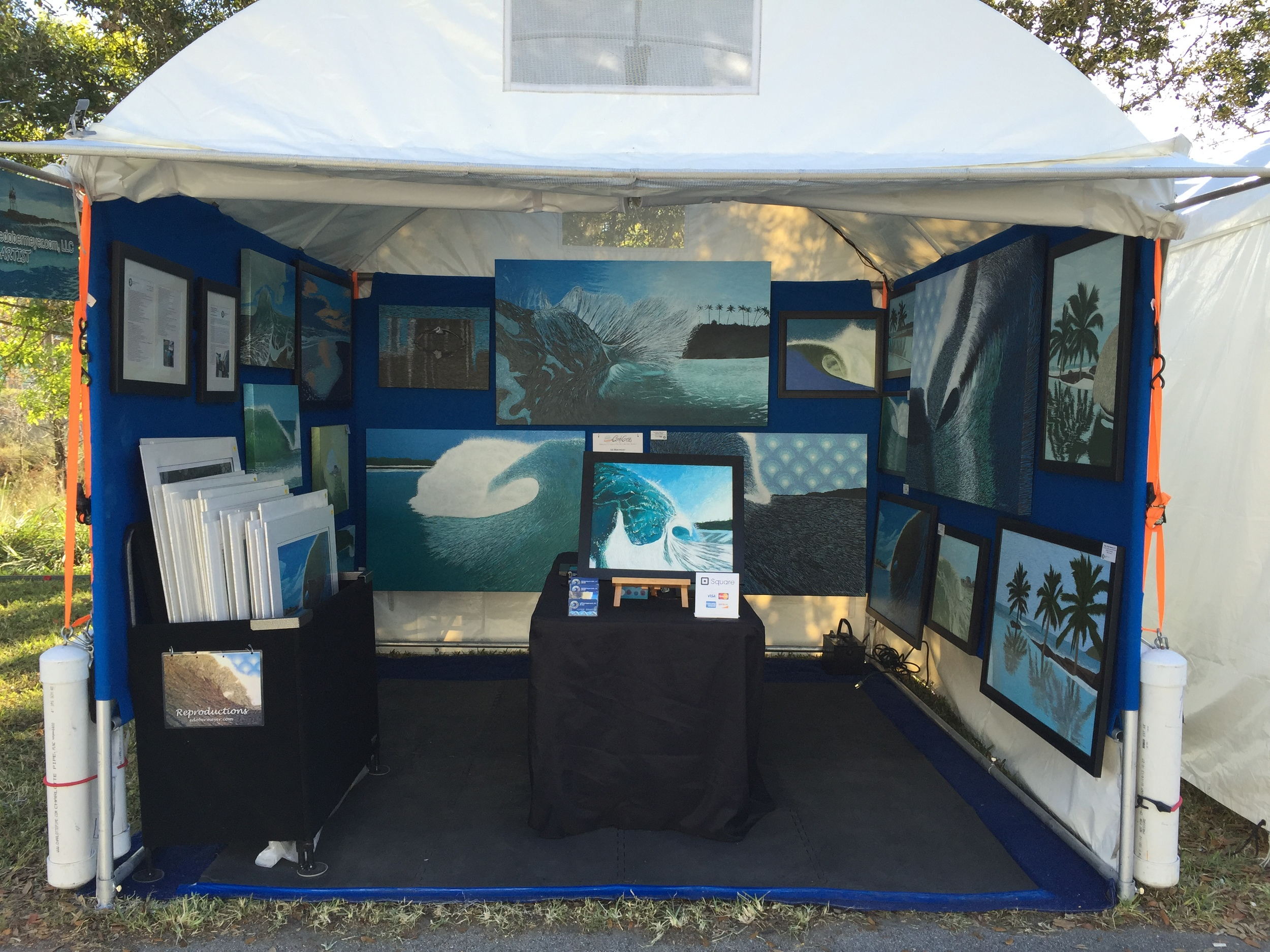 My booth #305 at ArtisGras  They gave me tons of room to paint and lots of storage out the back too!