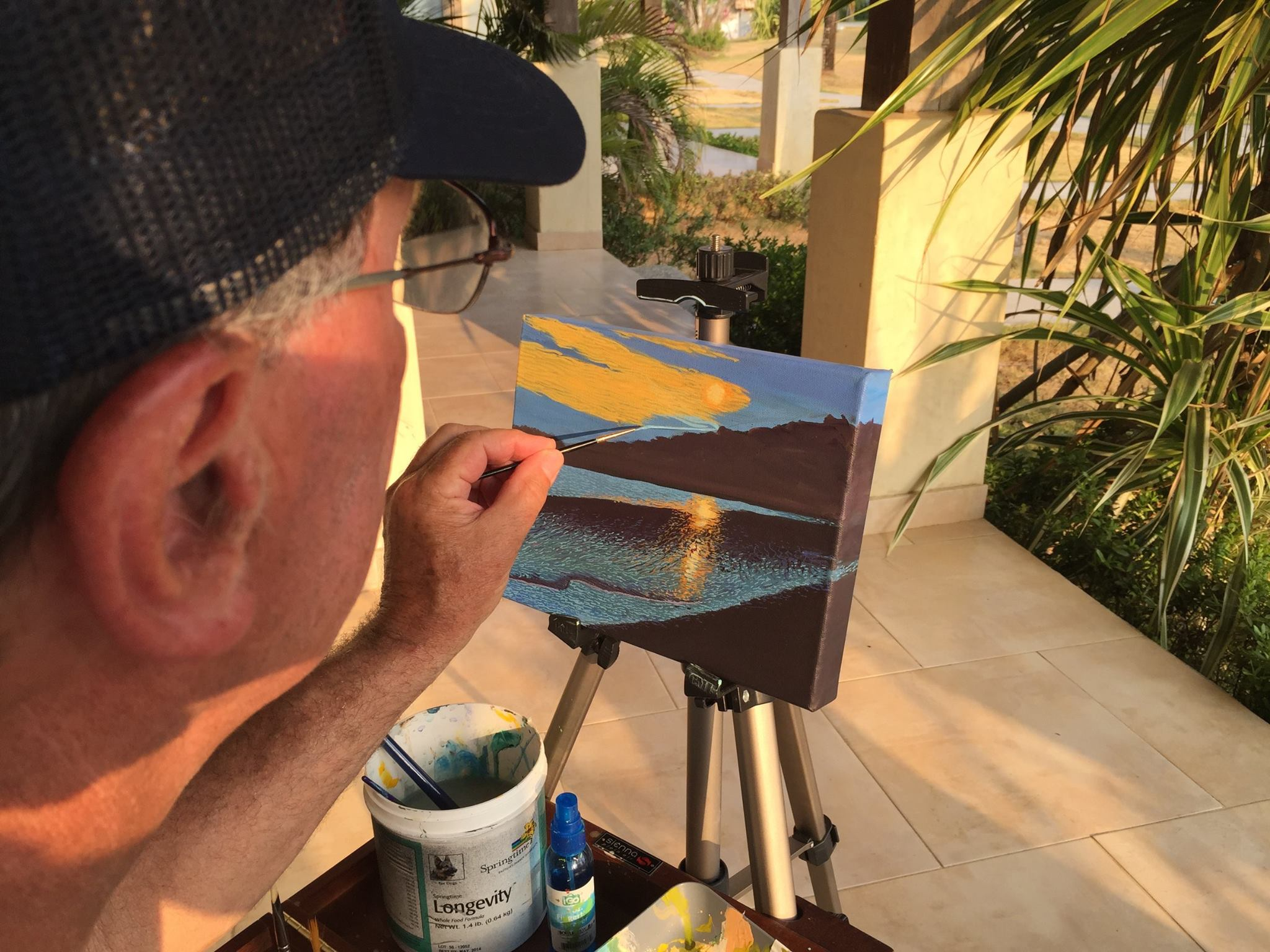 Painting outdoors . My new lightweight Plein air easel works perfect!
