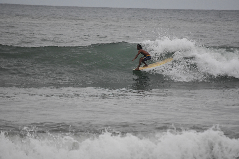 FooFoo, the owner of the only surf shop at El Site was shredding as usual.