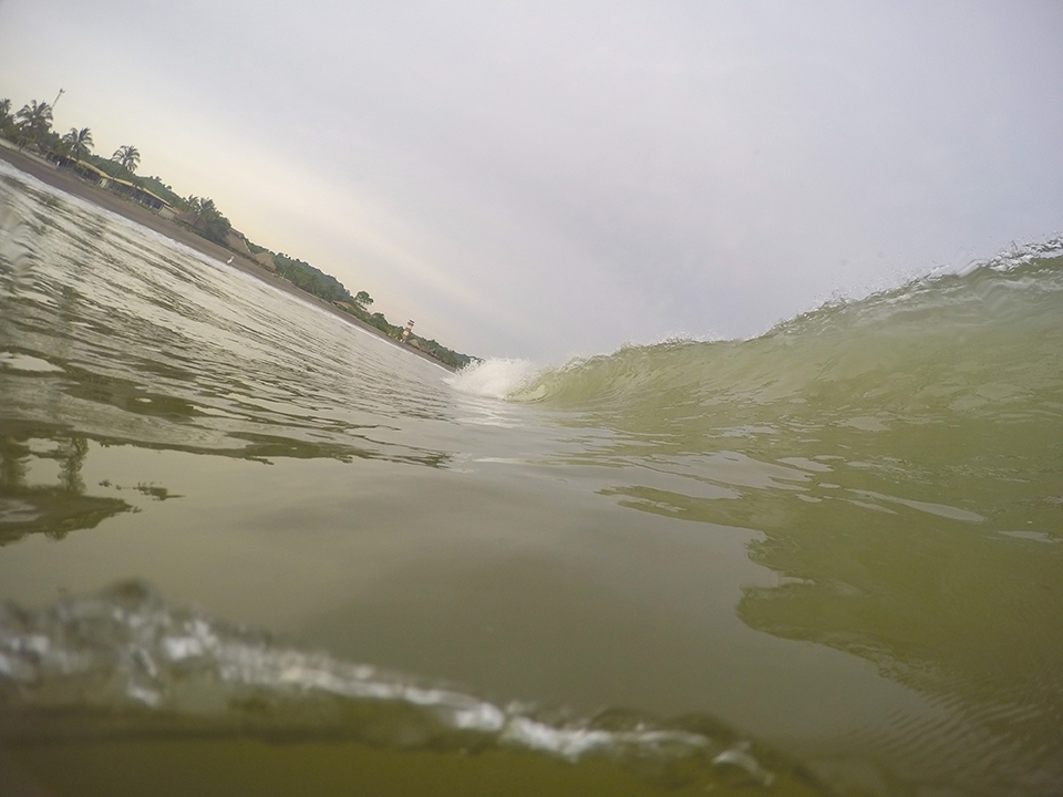 After countless hours in the water shooting with my goPro, the results were an abysmal failure due to the lack of off shore winds and sediment washing into the ocean from the river.