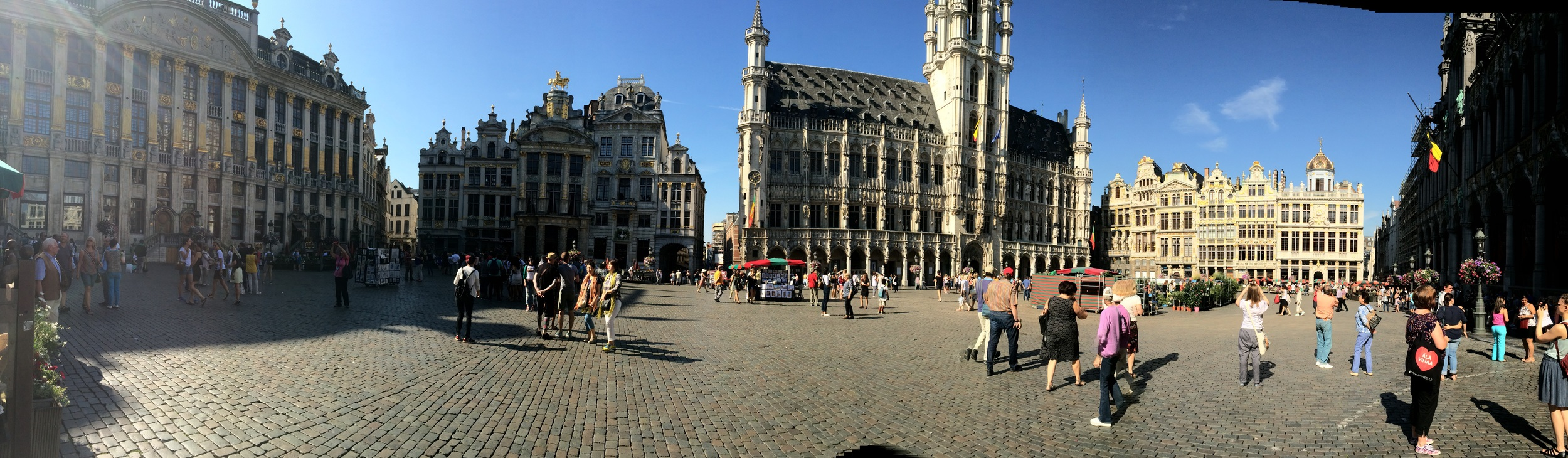 The Grand Place in Brussels. A view looking towards Brussels Town Hall.