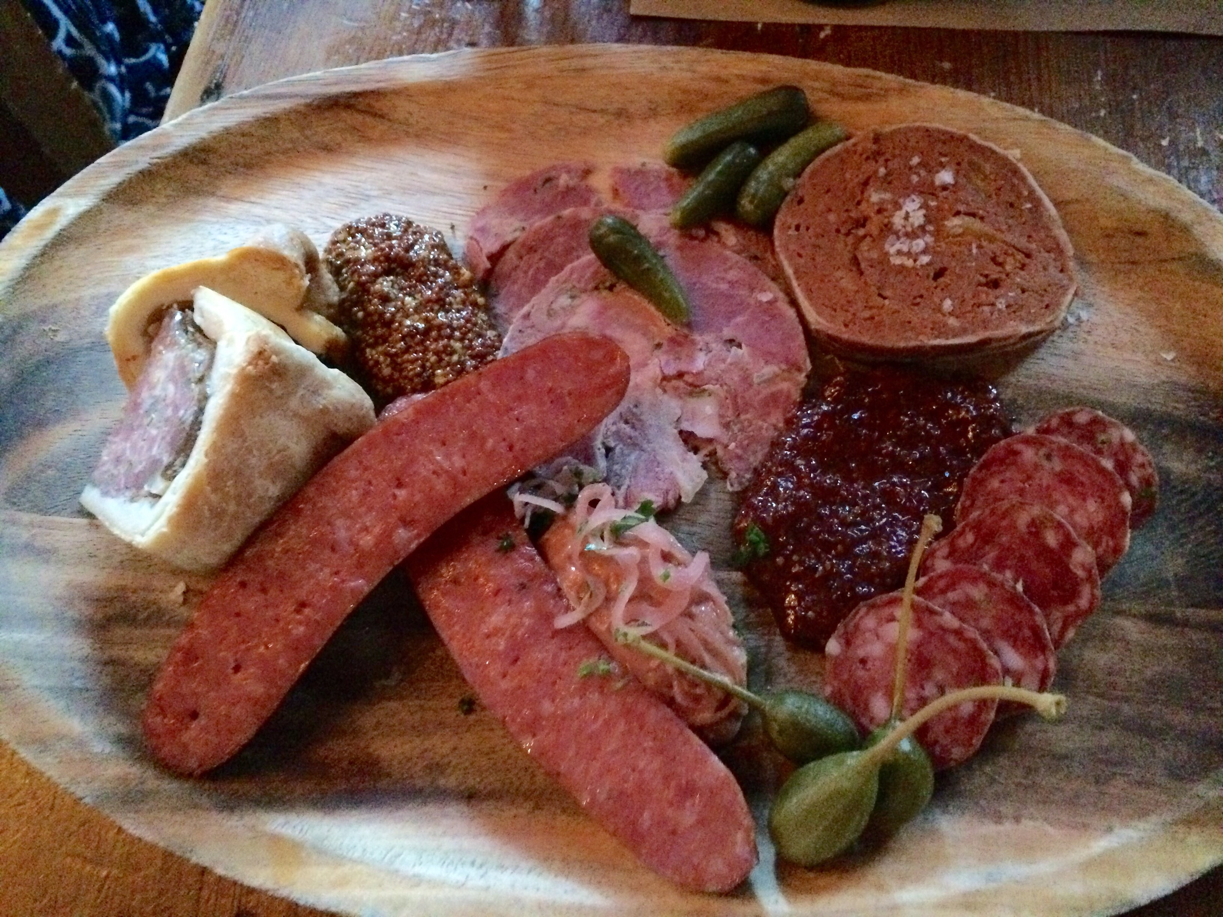 Charcuterie plate with whole grain mustard perfection.