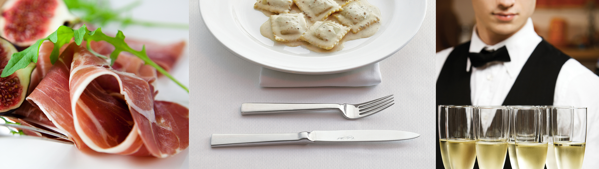 thinly sliced meat, ravioli and server with wine