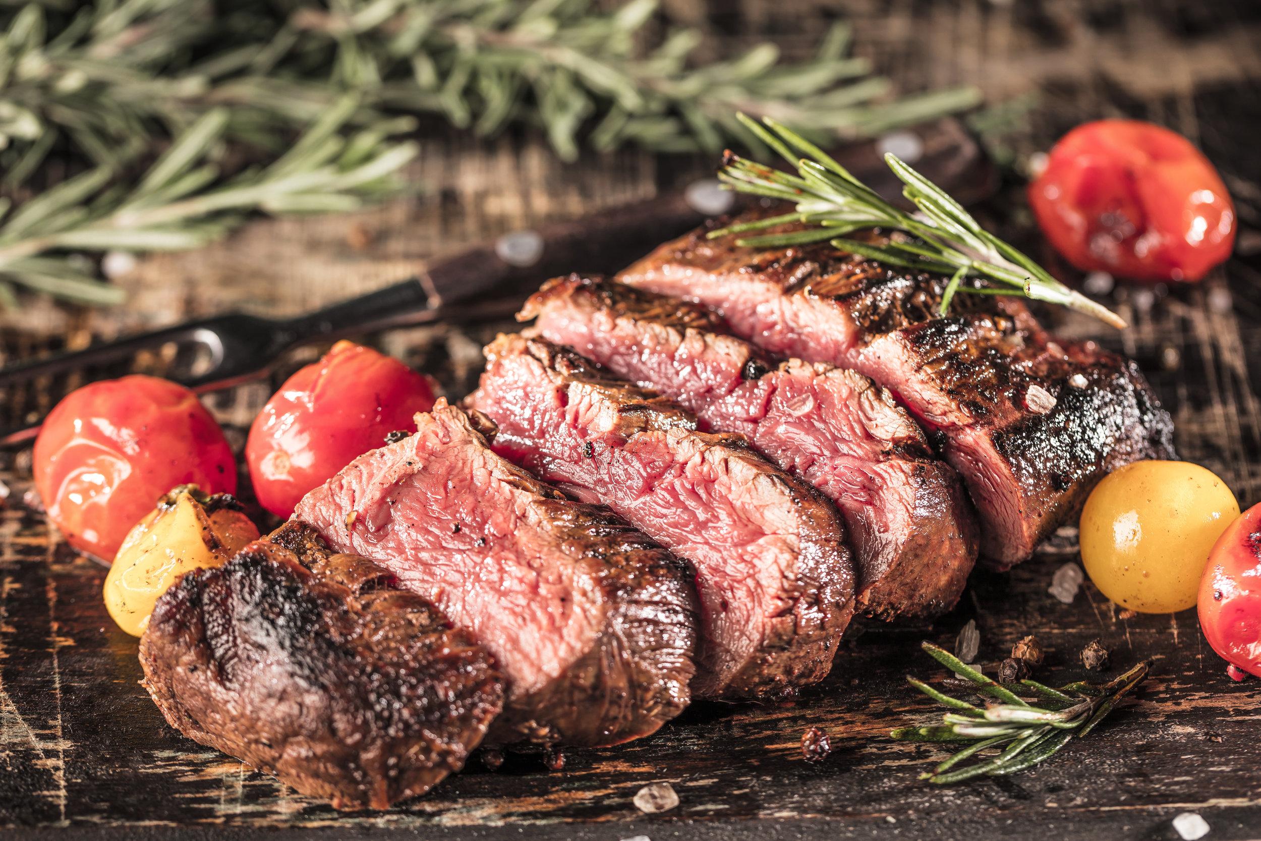 steak and cherry tomatoes