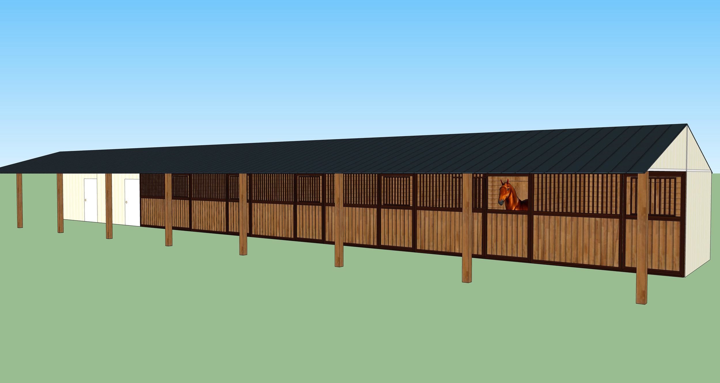 Proposed design - The Shed Row Barn will have a welcome area/office, tack room, and six stalls. It will back up to the dry lot so that the horses can come in and out of the stalls as needed. This style barn enables us to have a versatile, efficient space to welcome families, create safety and security for kids and horses, care for the horses more effectively, and store tack and supplies used in Sessions and Round Ups.