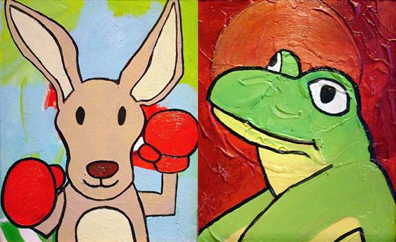 ARTxLOVE_stuffedanimals_kangaroo_frog.jpg