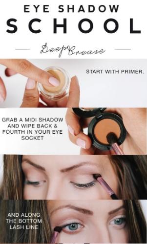 Eye makeup deep crease