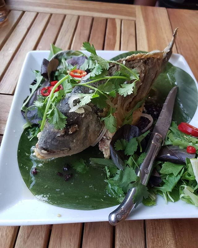 I think I found my new favorite dish here in Palm Springs.  Whole Seabass and black rice @roosterandthepig Vietnamese-American Restaurant  So so good!