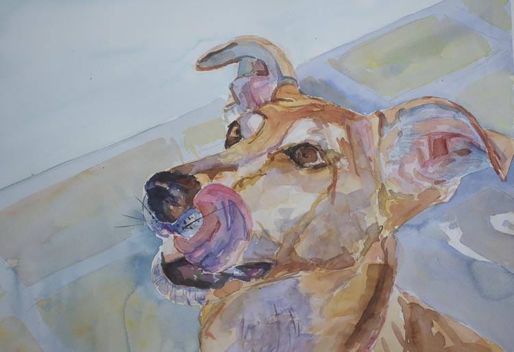 Boston pet portrait artist Katherine Miller and her dog Lola