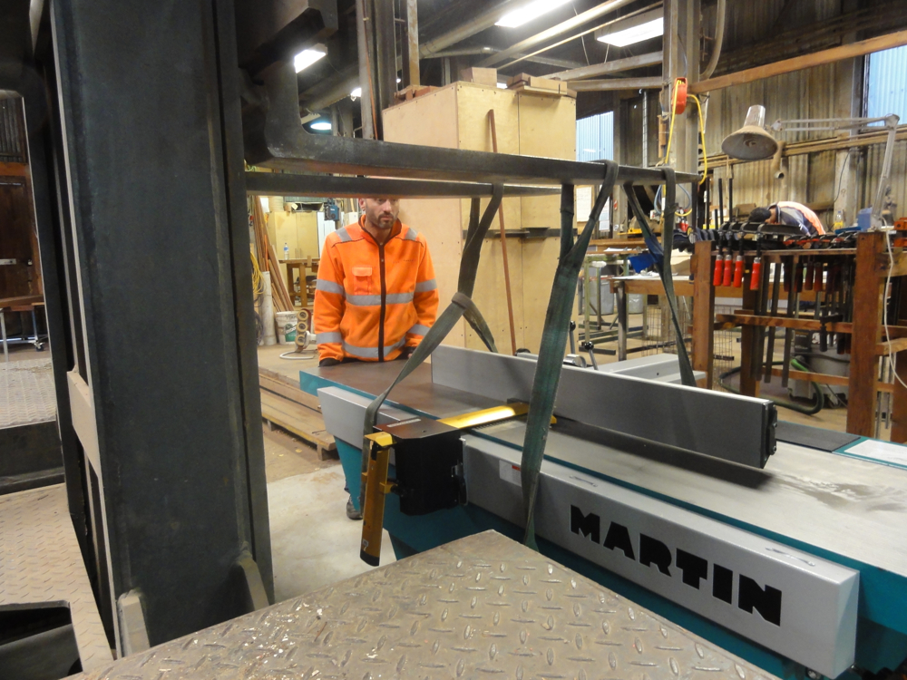 Lowering the Martin into position