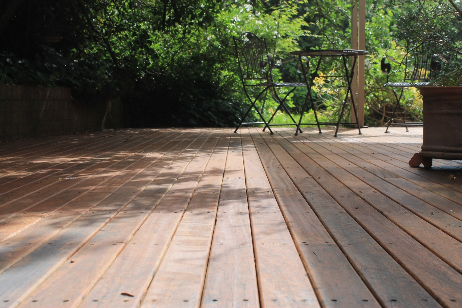 Remilled Decking made from salvaged house rafters
