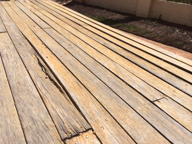 the boards on this deck were laid too close together and withing only a few years they have destroyed themselves due to expansion.