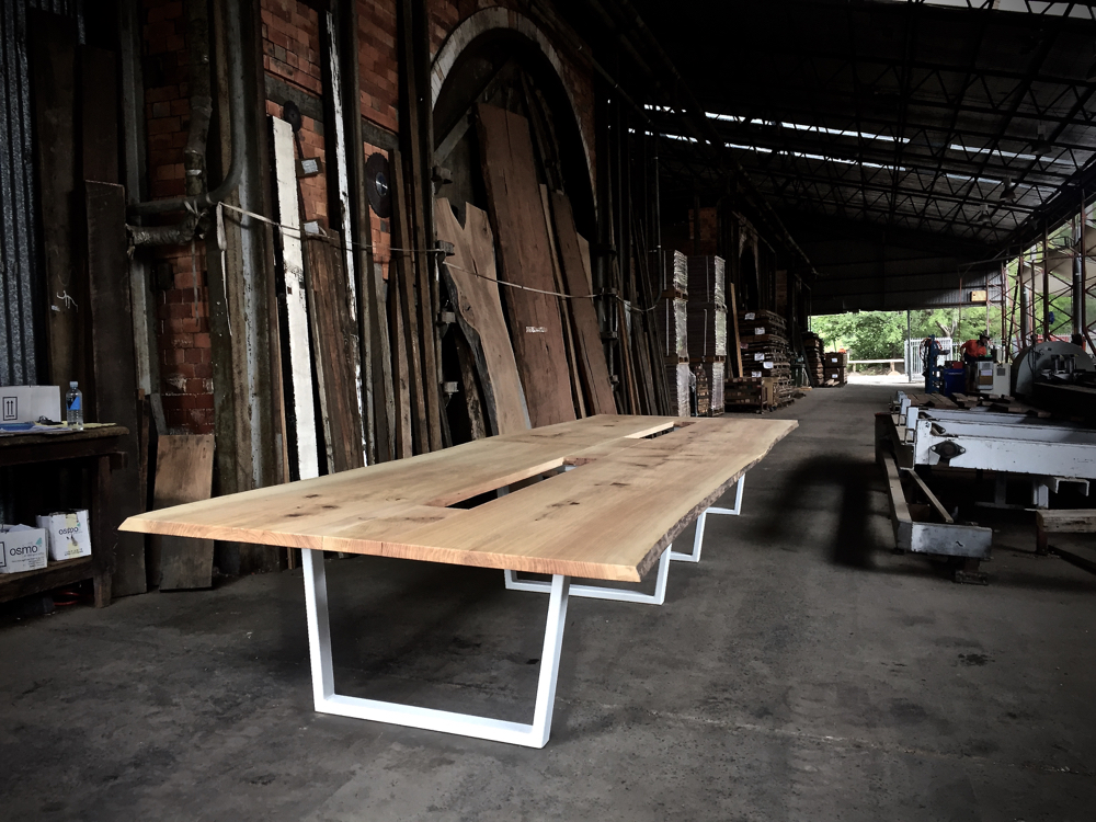 Twitter boardroom table – salvaged White Oak from Canberra street trees / steel base –  installed on Thursday to their new office in the CBD.