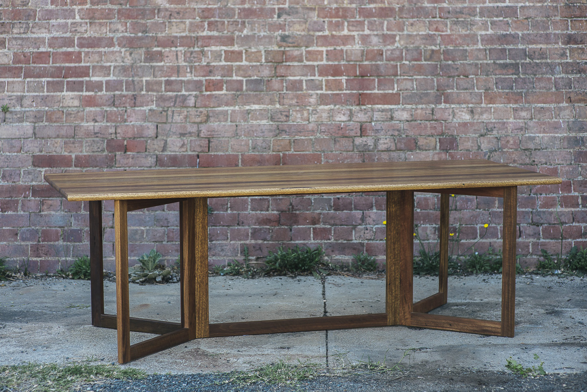 Y Plan Table made recently from salvaged Spotted Gum from Sydney house rooves. This design was originally created for the 2014 Design Canberra Exhibition and is now available to order.