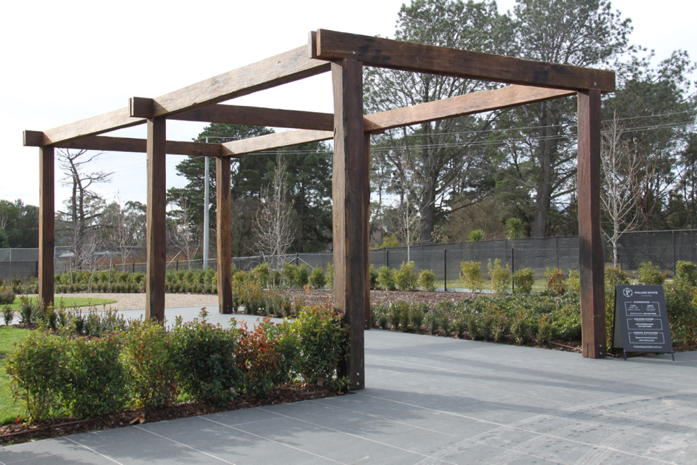Pergola installed at Pialligo Estate Winery using recycled posts and beams supplied by Thor's Hammer.