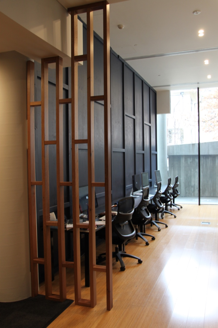 ED Design office fit out in the Nishi building. Recycled Blackbutt dividing frames.