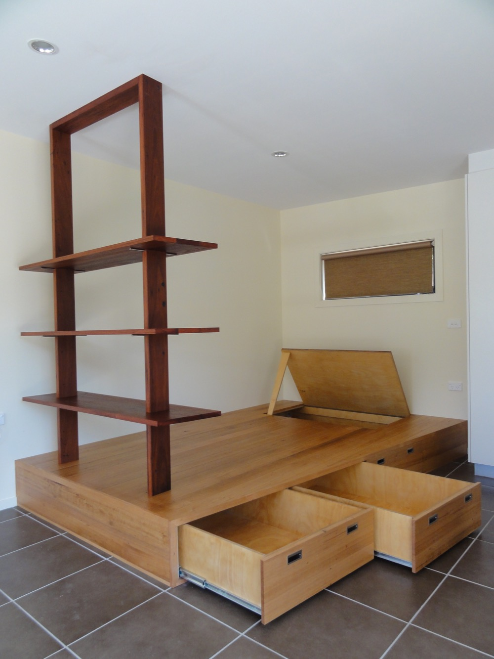 Bed Library in Mixed Red Hardwoods