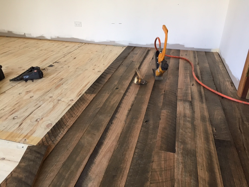 Installation of saw tooth floor boards is fast and efficient with newly milled tongue and groove profiles.