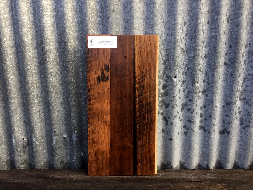 Saw tooth flooring sample showing the original patina of the demolition timber