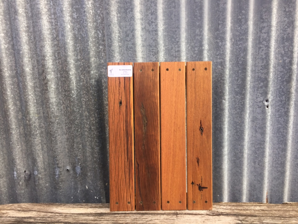 Recycled timber decking sample board in our showroom