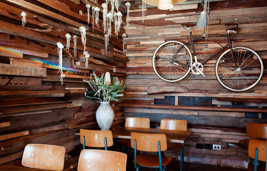 Recycled timber cladding we supplied to the epic  Mocan & Green Grout  in  New Acton.
