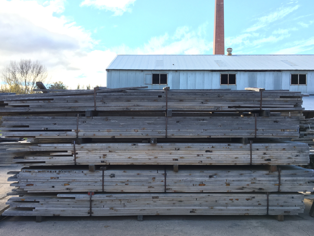 Silvery grey Ash flooring joists from the Bicentenial Basketball Stadium in Penrith. 80 x 32mm and 110 x 32mm.