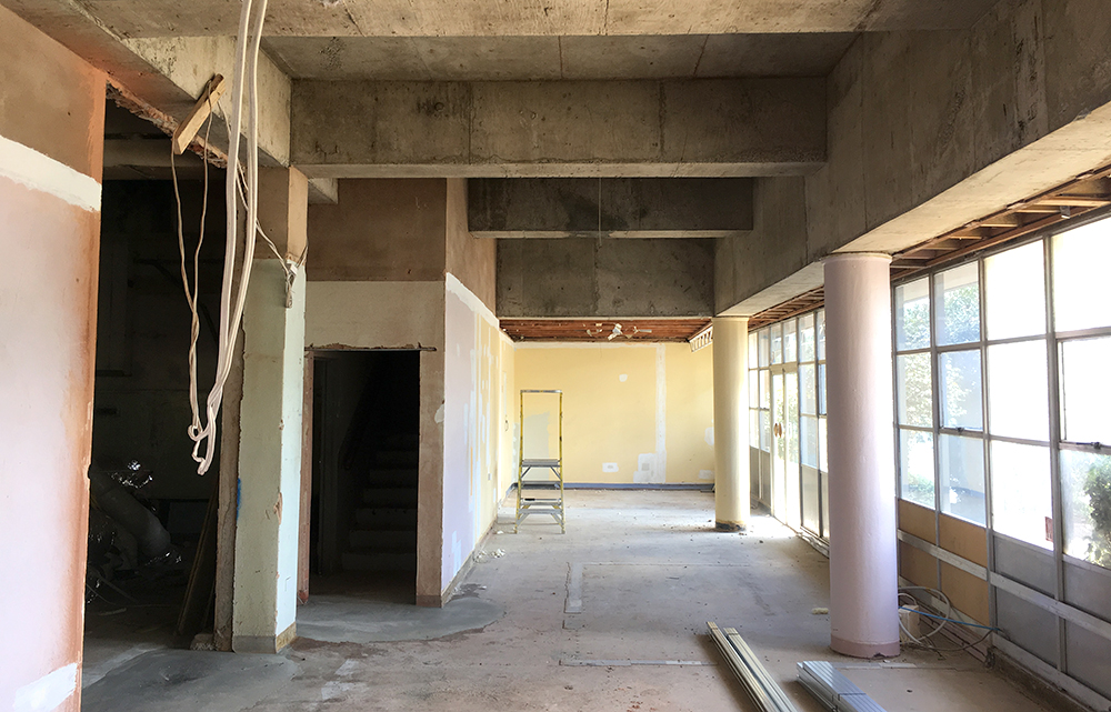 Partitions and ceiling removed