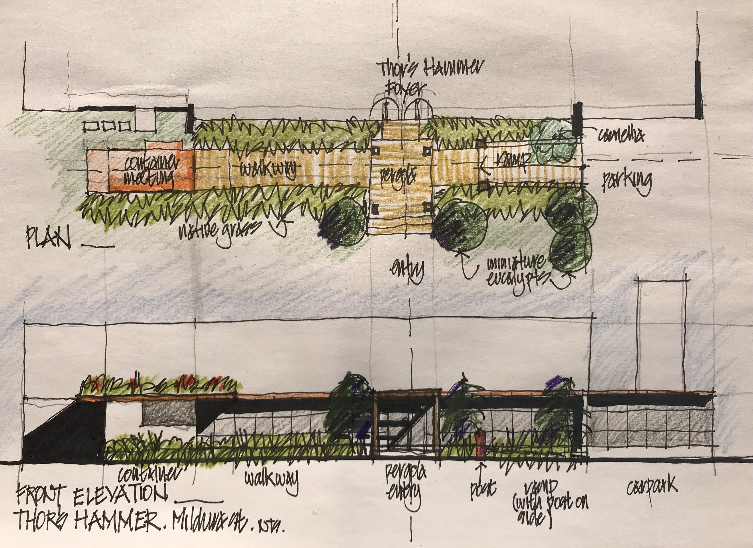 John's design for the pergola and deck at front of our Mildura workshop.