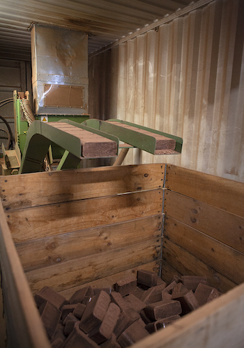 Inside the customised briquette shipping container.