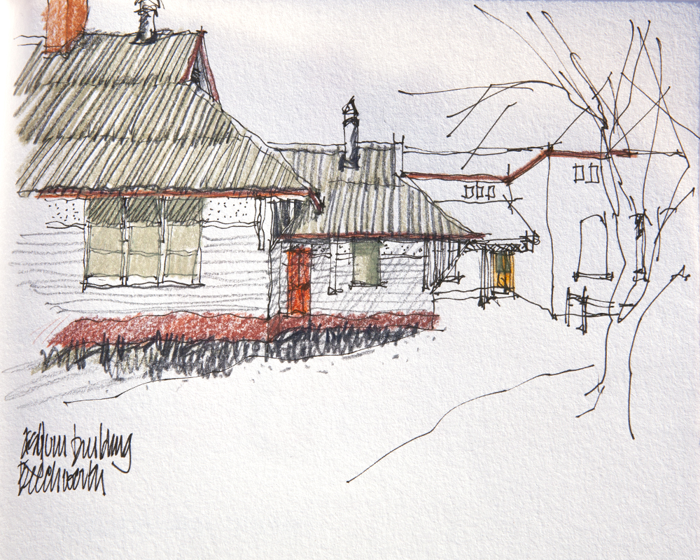 One of John's many architectural sketches.
