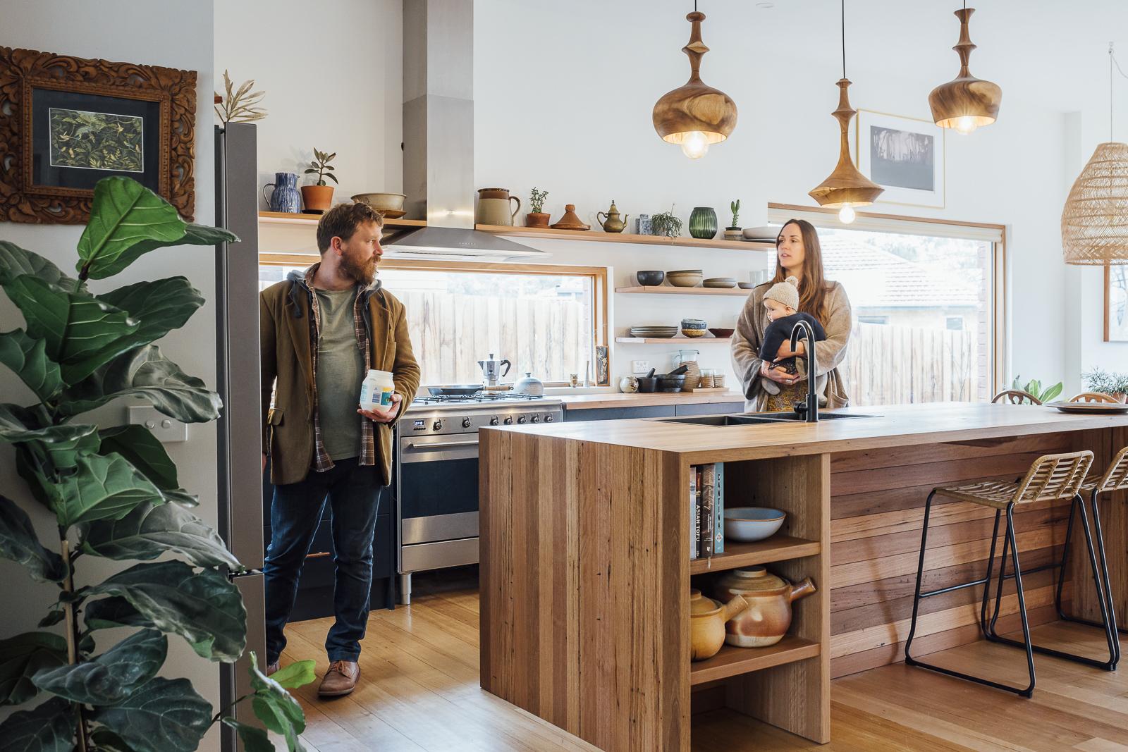 Breakfast time in Anna & Josh's new kitchen.