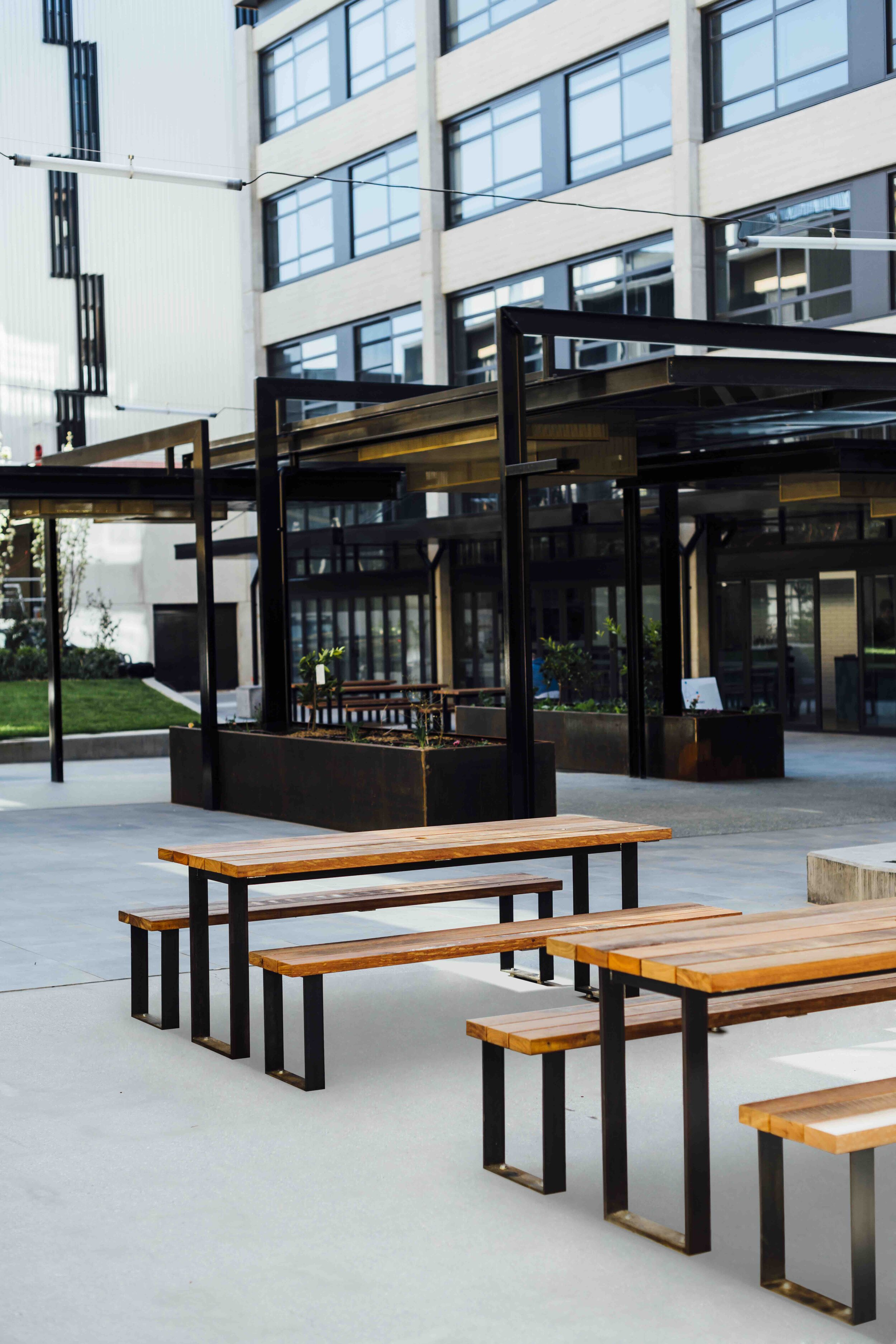 The recycled Ironbark tables installed at Kingsborough.