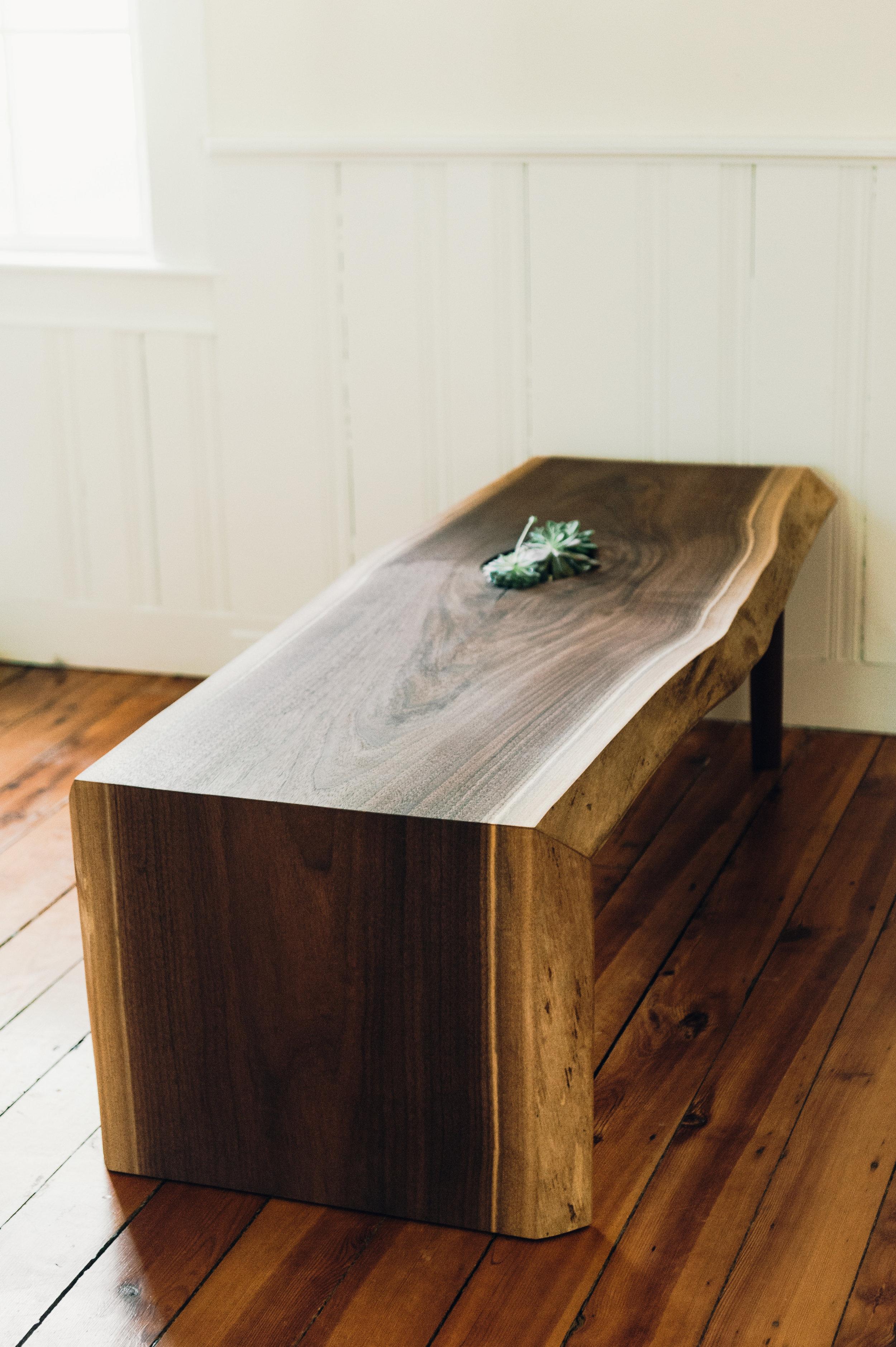 5' Waterfall Coffee Table in Black Walnut