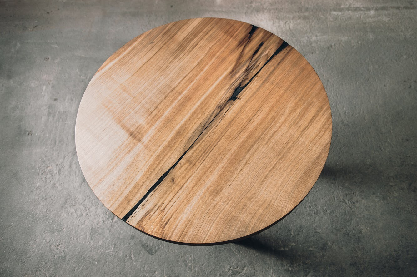 Small Butternut Single Slab Round Table