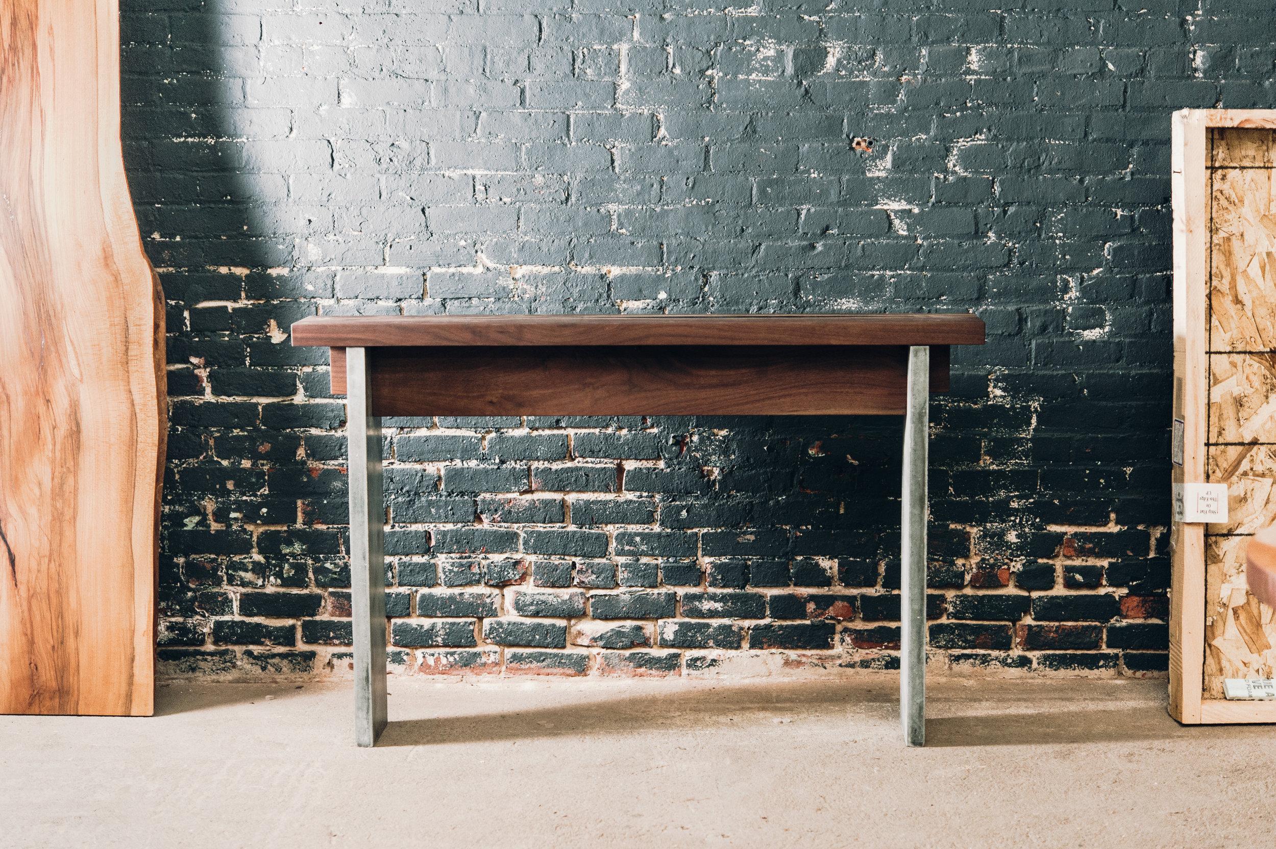 Walnut & Concrete Console Table