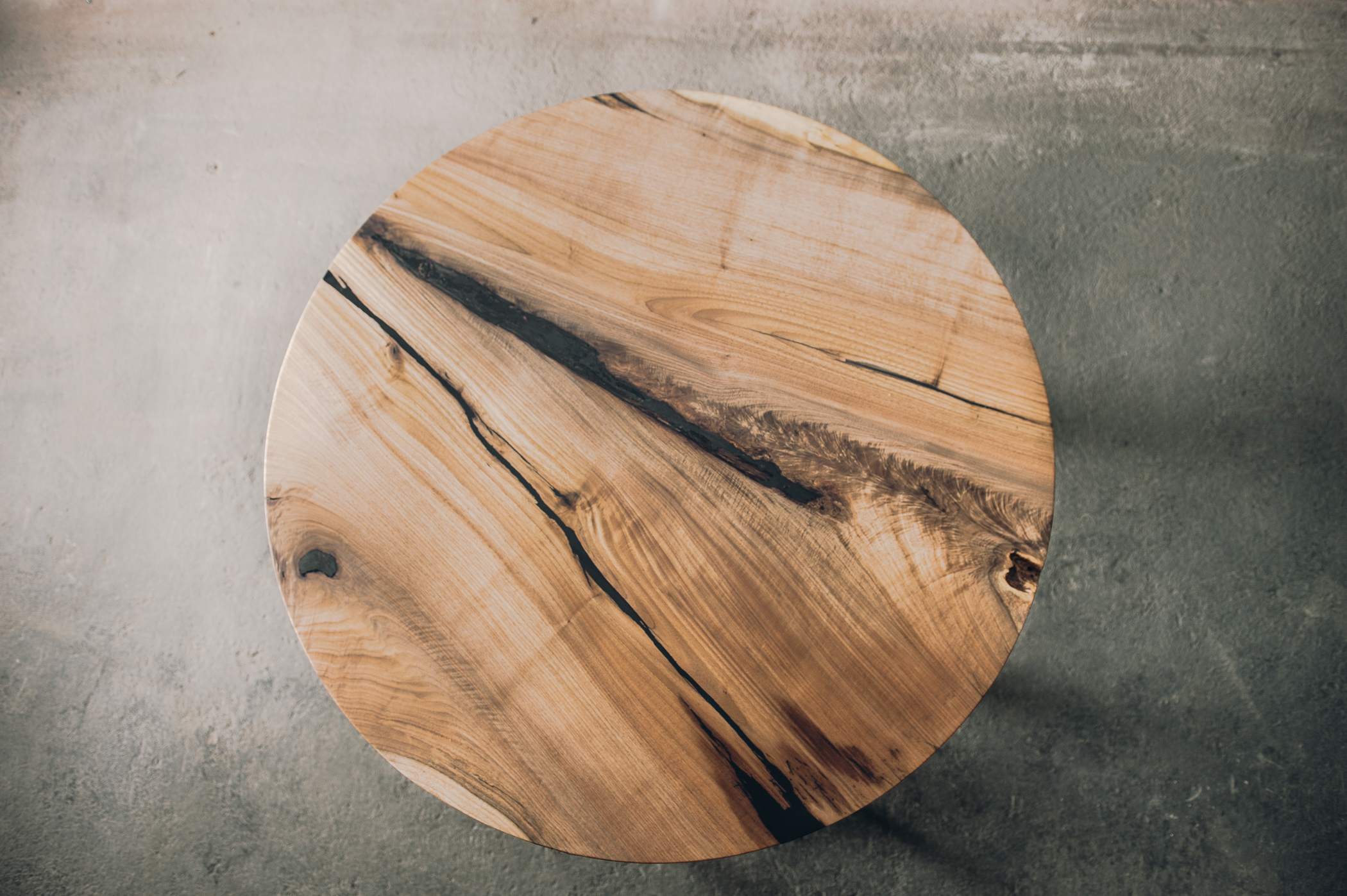 """Butternut Single Slab Round Pith Table with Black Resin. 48"""" Round (Sold*)"""