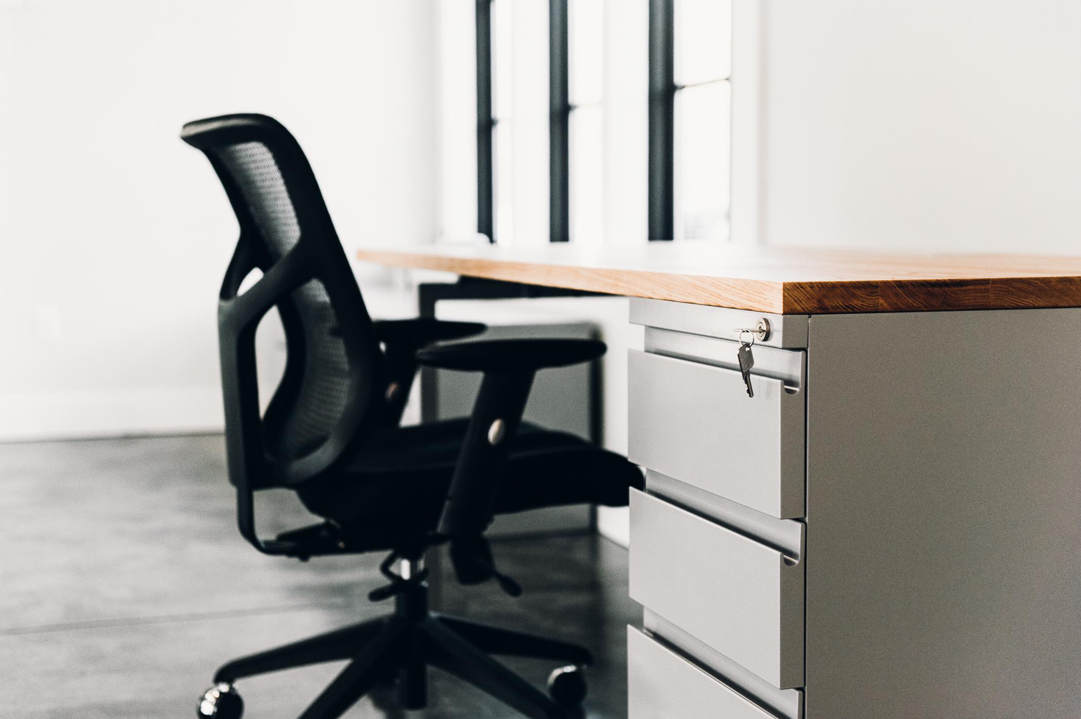 Modern desk with oak top