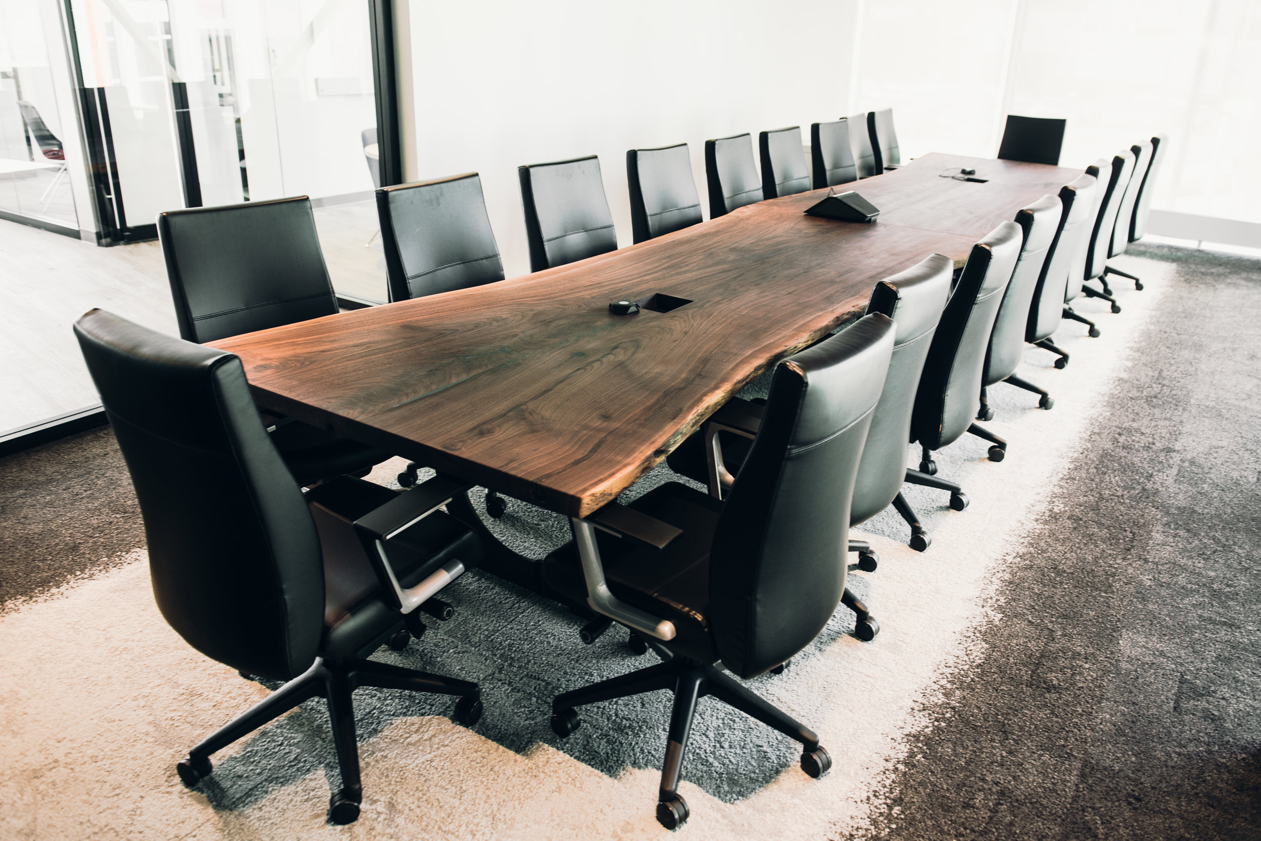20' x 4' Live edge walnut conference table