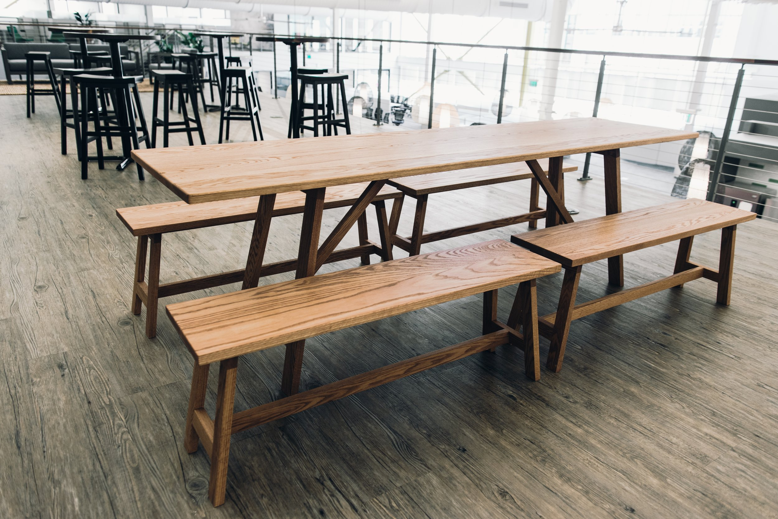 8' Beer Garden table with benches in Bourbon