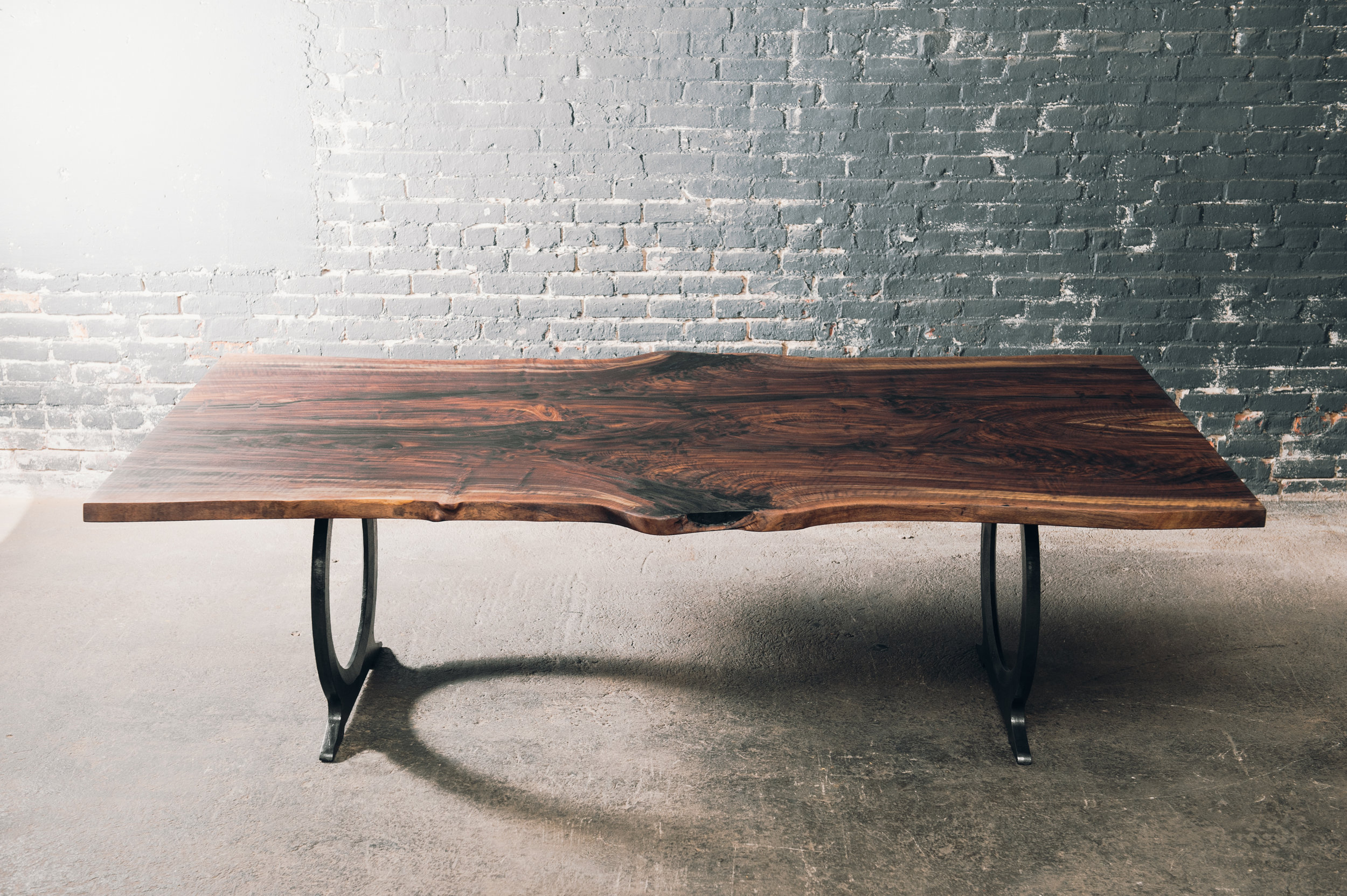 live edge walnut with cast iron legs